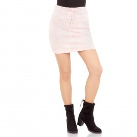 Ρόζ Σουέτ Mini Φούστα με Τσεπάκια και Κορδόνια