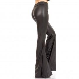Μαύρη Δερμάτινη Παντελόνα Καμπάνα
