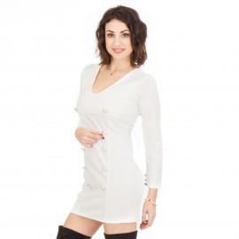 Λευκό Mini Φόρεμα με Κουμπιά