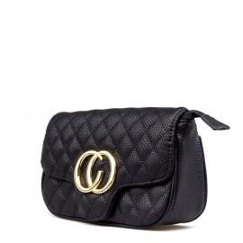Μαύρο Καπιτονέ Belt Bag με Μεταλλική Λεπτομέρεια