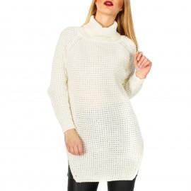Λευκό Πλεκτό Μπλουζοφόρεμα