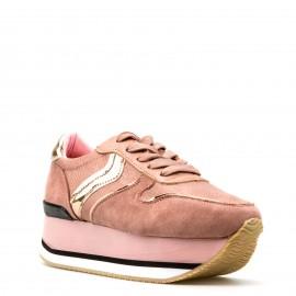Ροζ Δίπατα Sneakers με Κορδόνια