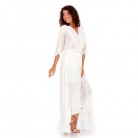Λευκό Maxi Κρουαζέ Φόρεμα