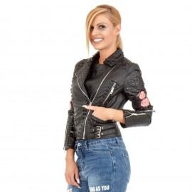 Μαύρο Δερμάτινο Biker Jacket με Τρουκς