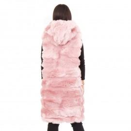 Ροζ Αμάνικη Γούνα με Κουκούλα
