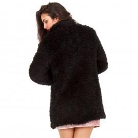 Μαύρο Fluffy Πανωφόρι