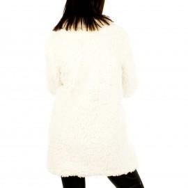 Λευκό Fluffy Πανωφόρι