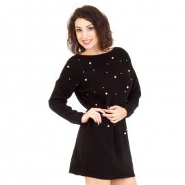 Μαύρο Πλεκτό Μπλουζοφόρεμα με Πέρλες