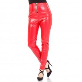 Κόκκινο Βινύλ Παντελόνι με Φερμουάρ