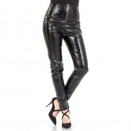Μαύρο Βινύλ Παντελόνι με Φερμουάρ