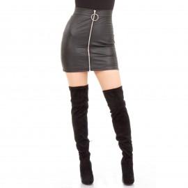 Μαύρη Ματ Mini Φούστα με Φερμουάρ