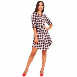 Μαύρο Καρό Mini Φόρεμα με Ζωνάκι και Κουμπιά