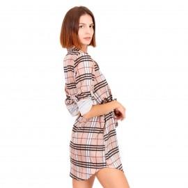 Μπεζ Καρό Mini Φόρεμα με Ζωνάκι και Κουμπιά