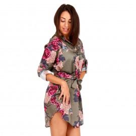 Χακί Φλοράλ Mini Φόρεμα με Ζωνάκι