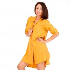 Κίτρινο Mini Φόρεμα με Κουμπιά