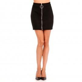 Μαύρη Σουέτ Mini Φούστα με Φερμουάρ