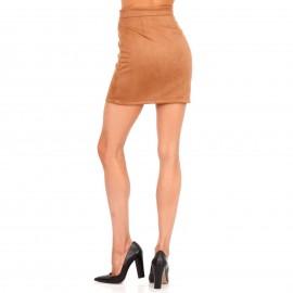 Camel Σουέτ Mini Φούστα με Φερμουάρ