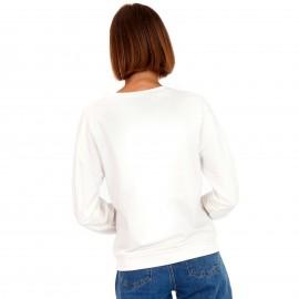 Λευκή Φούτερ Μπλούζα με Στάμπα
