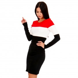 Μαύρο Ripped Mini Φόρεμα με Ρίγες
