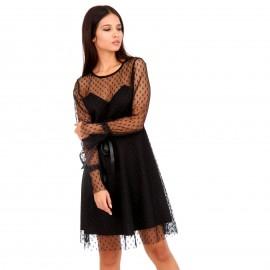 Μαύρο Mini Φόρεμα με C - Throu Λεπτομέρειες
