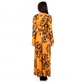 Κίτρινο Maxi Φόρεμα με Σχέδια