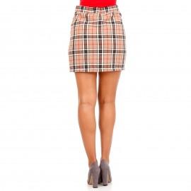 Μπεζ Καρό Mini Φούστα με Φερμουάρ
