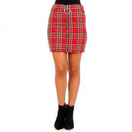 Κόκκινη Καρό Mini Φούστα με Φερμουάρ