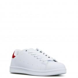 Λευκά Sneakers με Κόκκινη Λεπτομέρεια