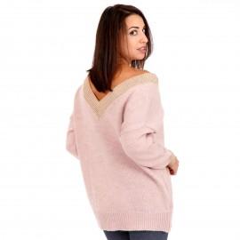 Ρόζ Πλεκτή Μπλούζα με Χρυσή Λεπτομέρεια