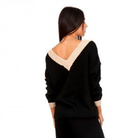 Μαύρη Πλεκτή Μπλούζα με Χρυσή Λεπτομέρεια