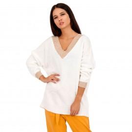 Λευκή Πλεκτή Μπλούζα με Χρυσή Λεπτομέρεια