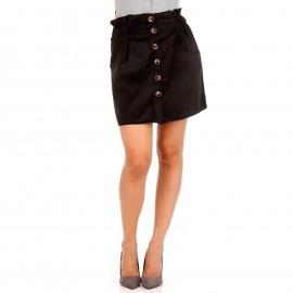 Μαύρη Κοτλέ Mini Φούστα με Κουμπιά