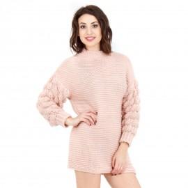 Ροζ Πλεκτό Μπλουζοφόρεμα