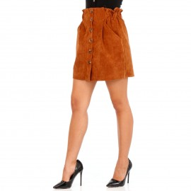 Camel Κοτλέ Mini Φούστα με Κουμπιά