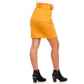 Κίτρινη Σουέτ Mini Φούστα