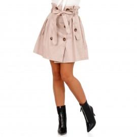 Μπεζ Mini Φούστα με Κουμπιά