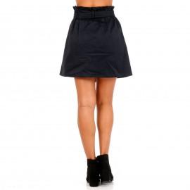 Μπλε Mini Φούστα με Κουμπιά