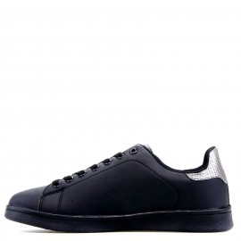 Μαύρα Sneakers με Ασημένια Λεπτομέρεια
