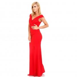 Κόκκινο Maxi Φόρεμα με Σκίσιμο