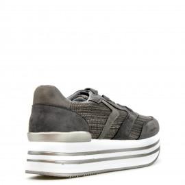 Γκρι Δίπατα Sneakers με Κορδόνια