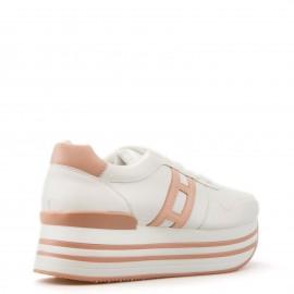 Λευκά Δίπατα Sneakers με Ροζ Λεπτομέρεια