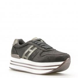 Γκρι Δίπατα Sneakers με Ασημένια Λεπτομέρεια