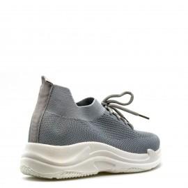 Γκρι Knit Sneakers με Κορδόνια