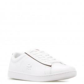 Λευκά Δερμάτινα Sneakers Lacoste με Μπορντό Λεπτομέρειες
