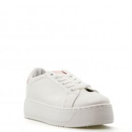 Λευκά Δίπατα Sneakers με Ροζ Λεπτομέρειες