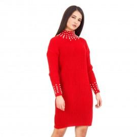 Κόκκινο Μπλουζοφόρεμα με Πέρλες