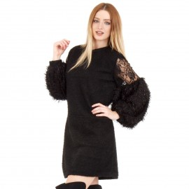 Μαύρο Φόρεμα με Τούλι στα Μανίκια και Πούπουλα