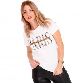 Λευκό Μπλουζάκι με Στάμπα Paris και Snake Print