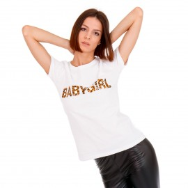 Λευκό Μπλουζάκι με Λεοπάρ Στάμπα