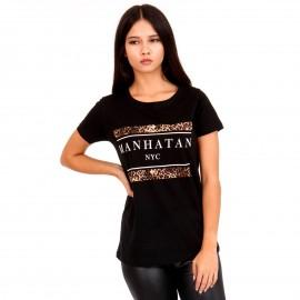 Μαύρο Μπλουζάκι με Λεοπάρ Στάμπα και Γράμματα
